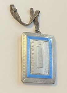 Antique Sterling Silver Guilloche Enamel Elgin Coin Compact Dance Purse 125+g