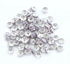 100 8mm Purple Silver Plated CZ Crystal Rhinestone Spacer Loose Beads N007