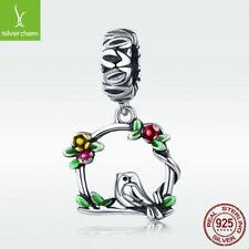 Genuine S925. Sterling Silver Herald Of Spring Charm Cute Bird & Flower Pendant
