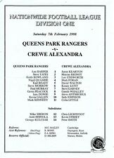 Queens Park Rangers V teamsheet-Fulham 2012/13