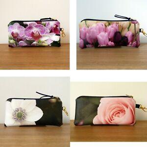 Glasses Case Soft Pouch Faux Leather Handmade Flat Floral Women Sunglasses
