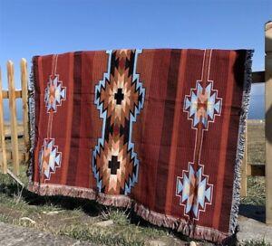 Large Tribal Navajo Indian Cotton Throw Sofa Blanket Tapestry Picnic Rug Vanlife