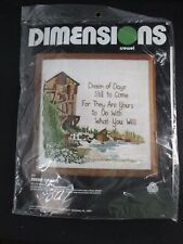 Dimensions Dream of Days Old Mill Water Wheel Crewel Embroidery Kit 12x12 K6