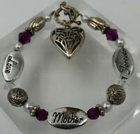 """Vintage Bracelet 7"""" Silver Colored w/ """"Mother"""", """"Love"""", """"Forever"""" & Purple Beads"""