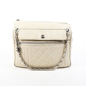 Chanel Cream Perforated Leather CC Chain Shoulder Bag