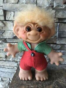 "Vintage 8"" Dam Troll Doll! 1961 USA Patent Pending!  Fur Hair Glass Eyes Denmark"