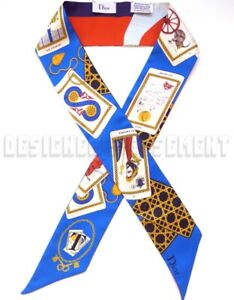 """DIOR blue """"T"""" for TAROT cards ABCDIOR MITZAH skinny 2-sided Silk scarf NEW Auth"""