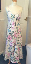 MARKS & SPENCER PER UNA 100% LINEN, FLORAL DRESS SIZE 12R ADJUSTABLE STRAPS