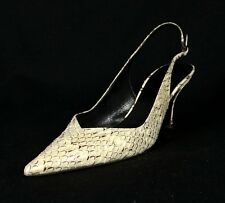 BALENCIAGA Ivory & Brown Snakeskin V-Vamp Pointed-Toe Heels Slingbacks 38