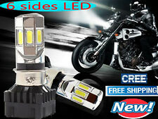 NEW 6 sides LED 60W 6000LM Motorcycle Bike Headlight Lamp Light bulb H4 H7 6000K