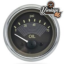VW Splitscreen Camper T2 EO Style Oil Pressure Gauge Smiths 52mm Retro Brown 12V