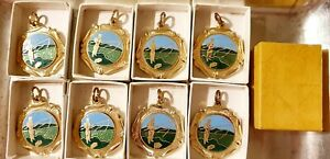 NEW 8 X GOLD 6 X SILVER ANGLING FISHING MEDALS BLANK FOR ENGRAVING ENAMELED BOX