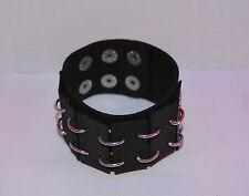 Bracelet force cuir et anneaux  acier  , punk,rock,bikers, db912