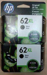 2 - Genuine HP62XL Black Ink Cartridges