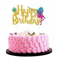 Bsstr Flamingo Pineapple Cake Toppers Happy birthday Cake Tropical Hawaiian Glit