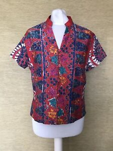 Vintage Red Bright  Floral Print Short Sleeved Boxy Crop Cute Blouse Top 10/12