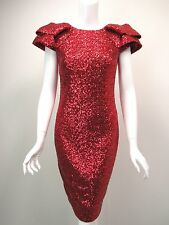 MARCHESA NOTTE Red Sequin-Covered Exaggerated Shoulder Dress sz 8 NEW