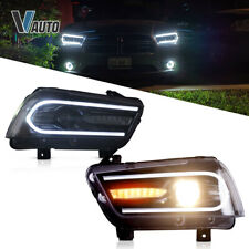 Fit For Dodge Charger 2011-2014 Headlights with Dual Beam Projectors LED DRL Set
