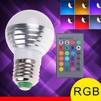 3W E27 LED RGB ampoule Lampe 16 change de couleur avec télécommande sans fil AT