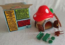 Vintage SMURF Mushroom House Cottage w BOX  Extra Pieces 1970s Great!