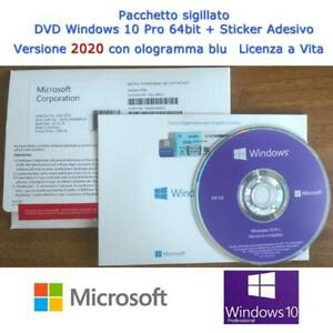 MICROSOFT DVD WINDOWS 10 PRO 64BIT ITALIANO + STICKER + LICENZA A VITA, NUOVO