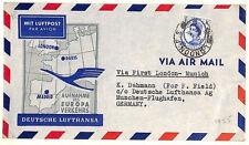 AQ308 1955 GB WILDING FFC{2} London Munich Airport Lufthansa PAIR First Flights