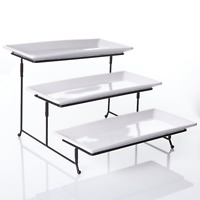 3 Tier Rectangular Serving Platter, Three Tiered Cake Tray Stand, Food Server