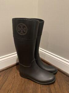 NEW Tory Burch Classic Knee-High Rainboot black Sz. 11