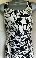 LK Bennett Black and Cream Wool/Silk Mix Sleeveless Tailored Shift Dress 12EXCDN