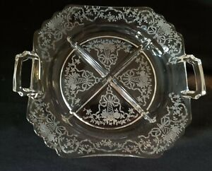 FOSTORIA CORSAGE Crystal Floral 4 Part Handled Relish Sectioned Dish