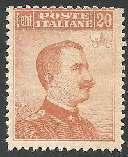1916 Italia Regno 20c. senza filigr. S. N° 107 integro **