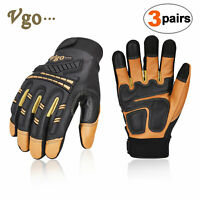 GA1012FW Vgo 2Pairs 32 ℉//0 ℃ 3M Lined Leather Waterproof Winter Work Gloves