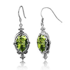 Punk Vintage Silver 925 Hook Earrings Peridot  Handmade Birthstone Jewelry Gift