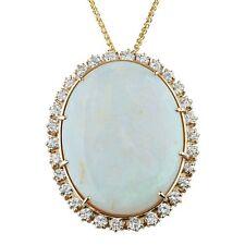 59.87 carat Opal wtith Diamond Bezel Pendant 14k Yellow Gold 20 inch Necklace