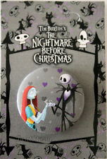 "Disney Nightmare Before Christmas Jack Sally 1 1/4"" Button Pin Lanyard Charm #2"