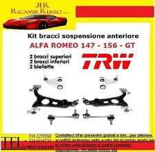 KIT 6pz 4 BRACCI OSCILLANTI ANTERIORI SUP/INF + 2 BIELLETTE TRW ALFA 147-156-GT