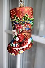Retired Christopher Radko Santa Jewel Stocking Blown Glass Ornament