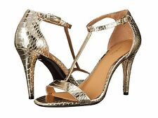 a6644cc265d7 Calvin Klein Nasi Metal Snake Platino Leather 8 Open-toe T-strap Stiletto  Sandal