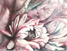 """Orig. Water Color Painting """"CACTUS FLOWER"""" Artist Signed 22""""x 30"""""""