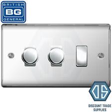 BG Chrome Poli Screwless 8 Gang 2 Way Variateur DEL Custom Grille effet miroir