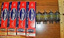4 Strong Matched NOS Raytheon Gray Plate D Getter 5725 / 6AS6 Tubes