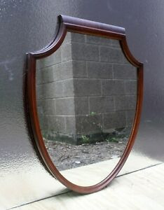 "27""x33"" Antique Vintage Old Cherry Wood Wooden Wall Hanging Shield Mirror Glass"
