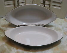 Set of 2 Gibralter Don Green & White Stoneware Handled Au Gratin/Souffle Dishes