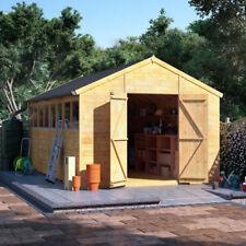 20x10 Tongue & Groove Wooden Shed Workshop Double Door Apex Roof Felt 20ftx10ft