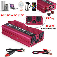 1500W DC 12V to AC 110V Car Truck Power Inverter Converter & Single USB Charger