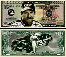 Dale Earnhardt Sr Million Dollar Bill Fake Funny Money Novelty Note +FREE SLEEVE