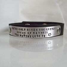 "Statement Cuff Bracelet Handmade ""one Little Spark of Madness"" Real Leather Gift"