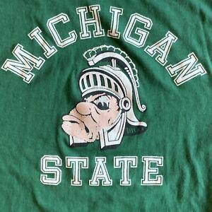 VTG 70s 80 MICHIGAN STATE UNIVERSITY green college t-shirt M Spartans Artex