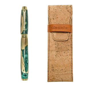 """Fountain Pen, Handmade of Olive Wood & Green Color Epoxy Resin, """"Lexis"""" Design"""