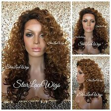 Synthetic Lace Front Wig Ombre Dark Roots Dark Auburn Burgundy Ends Heat Safe Ok
